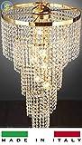 Lampadario spirale con cristallo tipo SWAROVSKY lucente e brillante MADE IN ITALY (Oro)