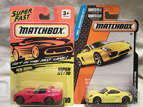 Matchbox Super Fast Red Viper RT/10 #10 & '14 Porsche Cayman Die Cast 1/64 Scale 2 Car Bundle!