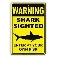 S-RONG雑貨屋ニースメタルの道路標識警告サメの目の前にグラフィック危険なビーチであなた自身のリスクで入力してください警告アラート注意ブリキメタルサインプレート12インチx 8インチのサイン。