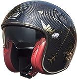 Premier Casco de moto VINTAGE CARBON NX GOLD CHROMED, Negro/Oro, S