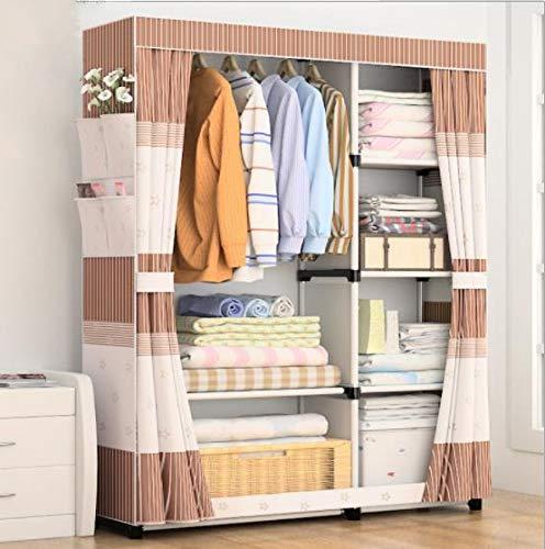 QAZ Eenvoudige garderobe economische stof assemblage doek garderobe stalen pijp versterking stalen frame opslag kast eenvoudige moderne