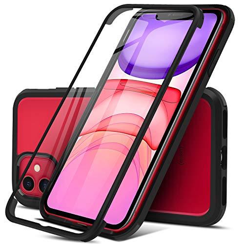 Dosnto Funda Transparente para iPhone 11(6.1'') Carcasa 360 Grados Protección con Protector de Pantalla Incorporado, [Protección contra Caídas Reforzada] [Militar Antichoque], Negro
