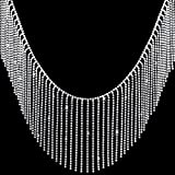 OIIKI 1 Yard Rhinestone Ribbon Tassel Chain, Diamond Crystal Tassel Fringe Trim for Wedding, Party, Clothing Accessories, Personalized DIY Decoration