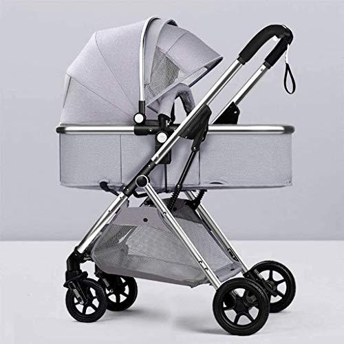 LOXZJYG Carruaje de bebé Compacto, Cochecito de Cochecito Amortiguador bidireccional con reposabrazos Desmontable, Cesta, Titular para bebés y niños pequeños (Color : Light Gray)