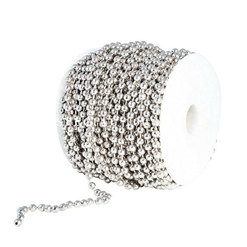 Ball Kette Spule 5mm Durchmesser Perlen, groß vernickelt Stahl 100Fuß (33Meter) enthalten 30PC Passende 5mm Anschlüsse von special100%