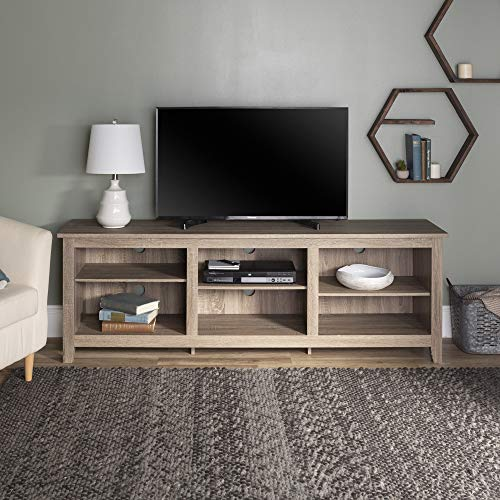 Walker Edison Furniture Company Minimal Farmhouse Wood Universal Stand for TV's up to 80' Flat Screen Living Room Storage Shelves Entertainment Center, 70 Inch, Driftwood