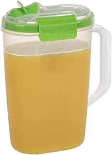 SnapLock by Progressive Juice Pitchers 2.0 Liter Container - Green, SNL-1016G  Easy-To-Open, Leak-Proof Silicone Seal, Snap-Off Lid, Stackable, BPA FREE