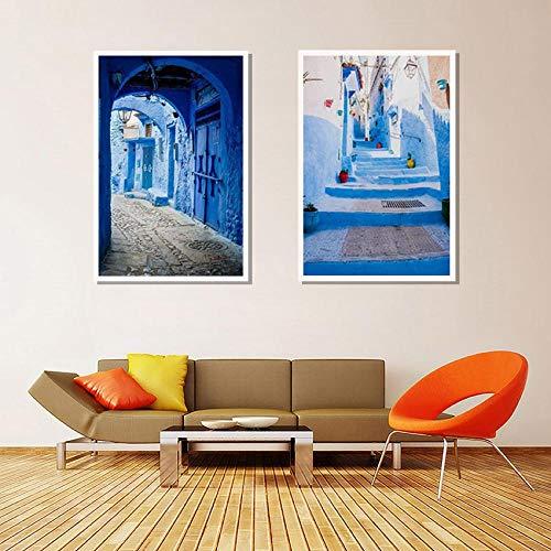 Pôster e impressões de decoração de viagem de arquitetura azul da cidade antiga, pintura em tela, decoração de casa, 23 x 31 polegadas x 2/60 x 80 cm x 2 sem moldura