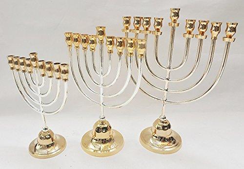 Menorah di Piccole Dimensioni (Hanukiah) Oro e Argento Placcato da Terra Santa Gerusalemme H/x 22W/17
