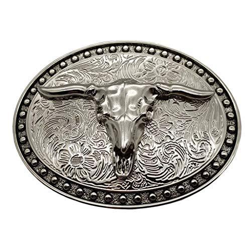 YONE Hebilla de cinturón Silver Longhorn Texas Bull Belt Buckle Cowboy Western Buckles
