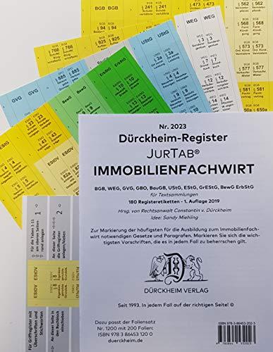 DürckheimRegister® IMMOBILIENFACHWIRT Griffregister (2019/2020): 180 Registeretiketten (sog. Griffregister) für IMMOBILIEFACHWIRTE mit den wichtigsten ... BGB, WEG, GVG, GBO, BauGB im Immobilienrecht.