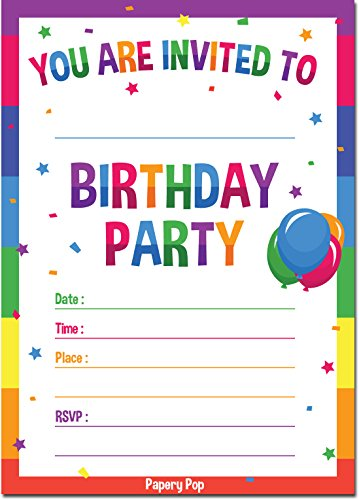 Birthday Invitations with Envelopes (15 Pack) - Kids Birthday Party Invitations for Boys or Girls - Rainbow