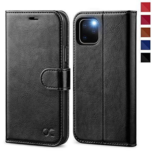 OCASE iPhone 11 Pro Hülle Handyhülle [Premium Leder] [Standfunktion] [Kartenfach] [Magnetverschluss] Tasche Flip Hülle Etui Schutzhülle Schlanke Leder flip case für iPhone 11 Pro Cover Schwarz