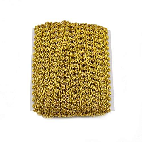 Yalulu 10 Meter Gold Geflochten Spitzenband Borte aus Dekoband Zierband Spitzenstoff Spitzenborte für Nähen Handwerk Hochzeit Kleidung Deko Scrapbooking Geschenkbox (1)