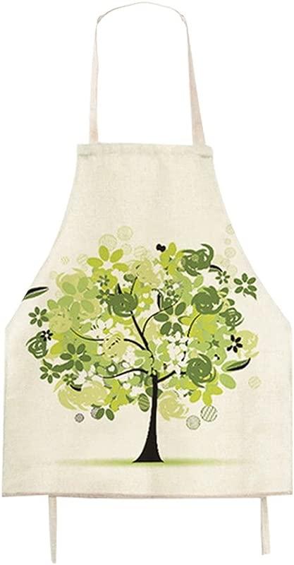 Fashion Cartoon Green Tree Pattern Children S Shop Apron Burlap Cotton Kitchen Apron Cooking Baking Garden Chef Apron Bib Great Gift For Kid Girls Kid Girls