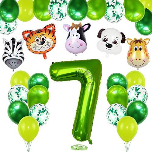 7 Años Selva Fiesta de Cumpleaños Decoracion, 7 Años Cumpleaños Decoración Set con Foil Globo Número 7 Verde y Bosque Animal Globos para Niño Niña 7er Cumpleaños Baby Shower