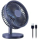 Mini ventilador de escritorio, 3 velocidades USB ventilador de escritorio pequeño ventilador de escritorio para oficina hogar (azul)