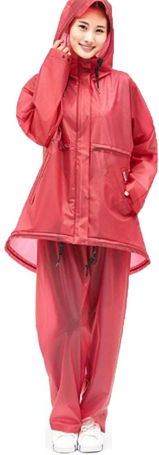 ZEMIN Rain Jacket Coat Raincoat Poncho Windbreaker Waterproof Cover Portable Female Set Pants Polyester, 2 colors, 3 Sizes Available Waterproof (color   Red, Size   L)