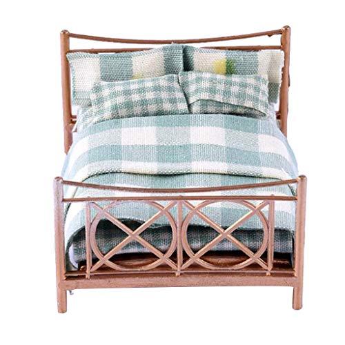 B Blesiya Miniatur Puppen Doppelbett Bett mit Decke und Kissen Deko Zubehör für 1:25 Puppenhaus