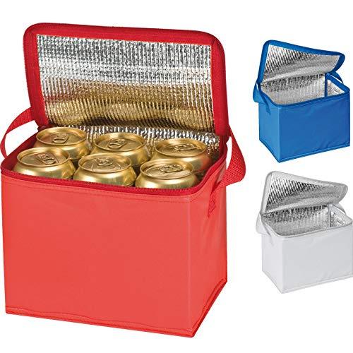3x Kühltasche für 6 Dosen à 0,5l / Farbe: je 1x blau, rot und weiß