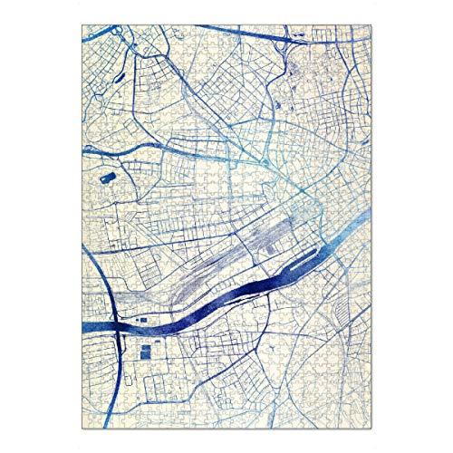 artboxONE Ravensburger-Puzzle XL (1000 Teile) Städte Frankfurt-am-Main Deutschland Blue Infusion Map I