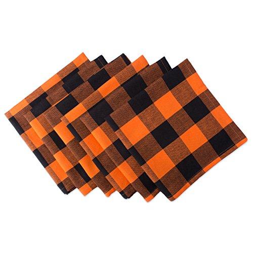 DII Buffalo Check Collection Classic Tabletop, Napkin Set, 20x20, Orange & Black 6 Count