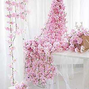 ingzuo Artificial Flowers Artificial Plants White Artificial Silk Cherry Blossom Flower Hanging Vine Garland Home Decor