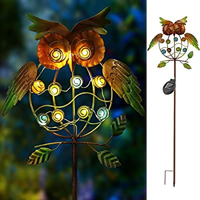 TAKE ME Garden Solar Lights Outdoor,Solar Powered Stake Lights - Metal OWL LED Decorative Garden Lights for Walkway,Pathway,Yard,Lawn (Multicolor)