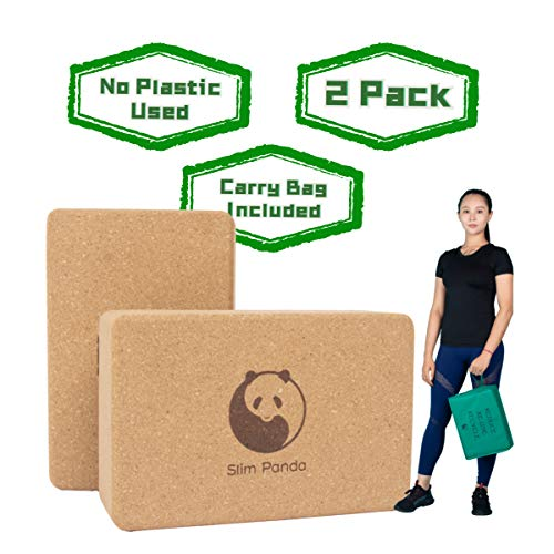 Slim Panda Sturdy Cork Yoga Blocks 2 Pack, Wooden Yoga Brick Exercise Block Non-Slip Eco Yoga Block to Support and Deepen Poses for Yoga, Pilates, Meditation, 9'' x 6'' x 3''