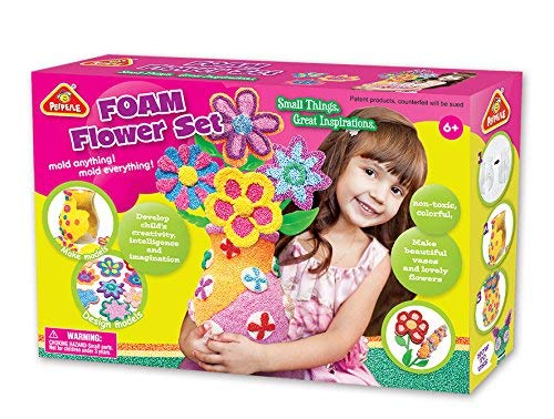 Leo & Emma Space Foam Perlenknete, Foaming Compound, Modelliermasse, Kreativ-Set, selbsthärtend - Modell 2019 (Flower Set)