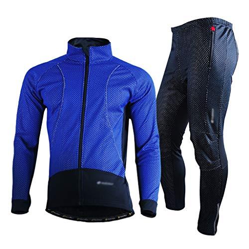 Jersey de ciclismo Hombres ciclismo conjunto a prueba de viento impermeable y transpirable térmica cómodo chaqueta de manga larga de invierno polar montaña de la bicicleta del montar a caballo de depo