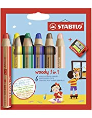 Stabilo Woody Coloring Pencils with Sharpener, Multicolored