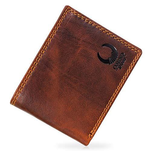 Corno d´Oro Leder Geldbeutel Männer TÜV-geprüfter RFID Blocker I Herren Geldbörse Querformat I Vintage Portemonnaie braun in Geschenkbox 32010W