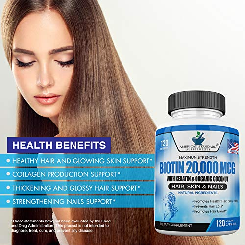 Biotin 20,000mcg with Keratin, Organic Coconut and Zinc, Hair Growth Supplements, Biotin Supplements, Healthy Hair Skin & Nails for Adults, No Filler, No Stearate, 120 Vegan Capsules, 120 Day Supply