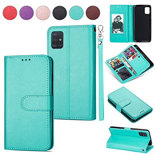 DEFBSC Samsung Galaxy A51 Handyhülle, Magnetisch Premium Leder Flip Schutzhülle mit Kartenfach, Schlanke Brieftasche Hülle Flip Case Handytasche Lederhülle für Samsung Galaxy A51 - Mintgrün
