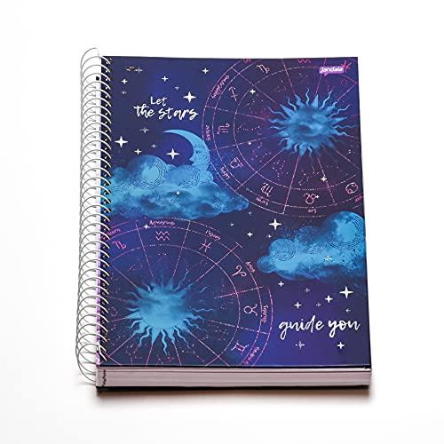 Caderno Espiral Capa Dura Universitário 10 Matérias Mystic The Stars 160 Folhas, Jandaia