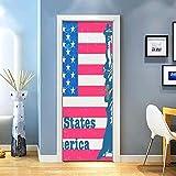LuSeven fototapete selbstklebend Vereinigte Staaten Flagge Freiheitsstatue Englisch 80x200cm Tür Wandbild Dekoration Wandkunst Wandbilder Abziehbilder Wohnzimmer Kindergarten Restaurant Hotel Café Bür