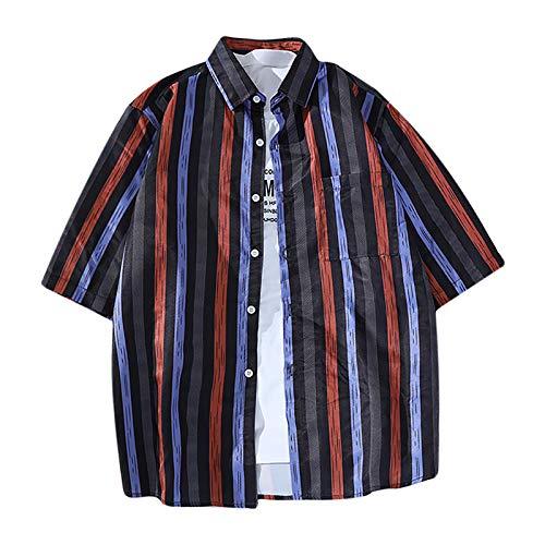 Camisa de manga corta para mujer, unisex, estilo hawaiano, informal, manga corta, estilo tropical, vintage rojo M