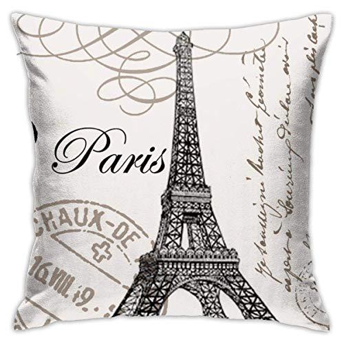 QUEMIN Vintage Negro Beige Love Paris Patrón Fundas de Almohada Decorativas Funda de Almohada de 18x18 Pulgadas Fundas de cojín cuadradas para el hogar Sofá Dormitorio Sala de Estar