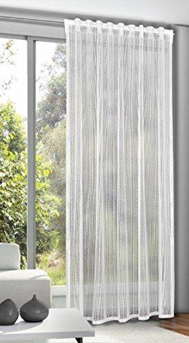 NOVUM fix Gardine * eleganter Schlaufenschal Madeira * verdeckte Schlaufen * gewirkte Qualität für transparenten Sichtschutz in 5 Farben * 245 x 140 cm (H x B) (weiß)