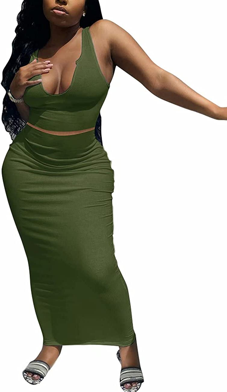 Women Two Piece Skirt Sets Sexy Tank Crop Top Bodycon Maxi Long Skirt Rib Dress