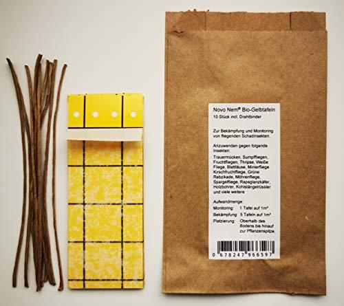 Novo Nem® Bio-Gelbtafeln 10 Stück gegen Trauermücken, Blattläuse, Weiße Fliege und weitere Fliegende Schadinsekten - beidseitig beleimt - mit Drahtbindern