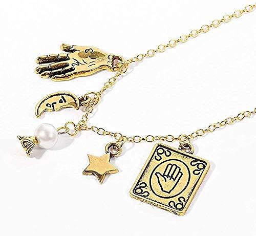 Yiffshunl Collar Collar de Estrella de Cuentas de Piedra Lunar Natural Collar con Colgante de Luna y Estrella de quiromancia Bruja de Mano Pagan Gypsy Magic Fortune Teller Gargantilla Collar Regalo