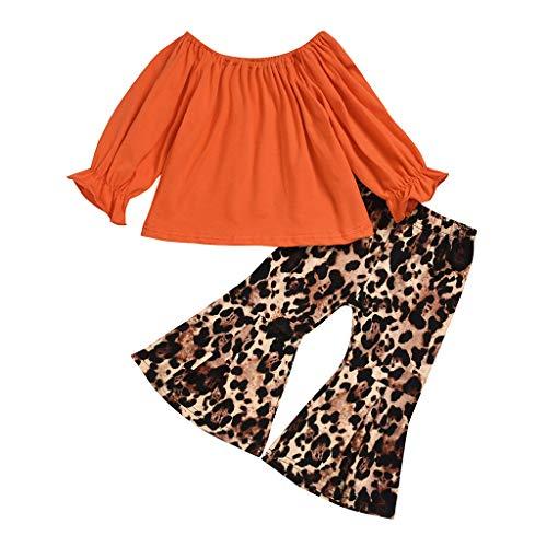BUKINIE 2PCS Ensemble de vêtements Little Kids T-Shirt de Culture bébé Fille à Manches Longues + Pantalon évasé à imprimé léopard(Orange,4-5 Ans)