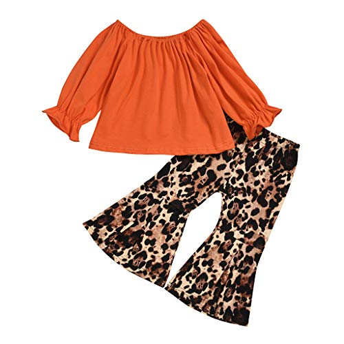 BUKINIE 2PCS Ensemble de vêtements Little Kids T-Shirt de Culture bébé Fille à Manches Longues + Pantalon évasé à imprimé léopard(Orange,3-4 Ans)