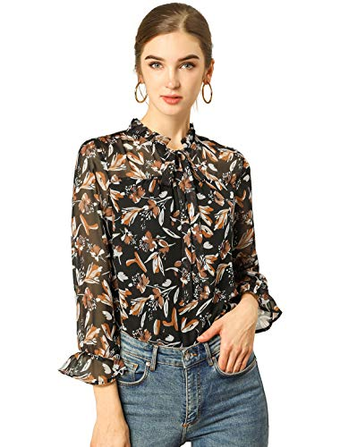 Allegra K Damen Trompetenärmel Lace Up V Ausschnitt Blumen Top Bluse Schwarz XS