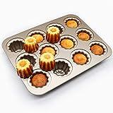 Moule à canele en et acier au carbone, 12 cavités antiadhésifs, moules de cuisson pour four, tasse à gâteau