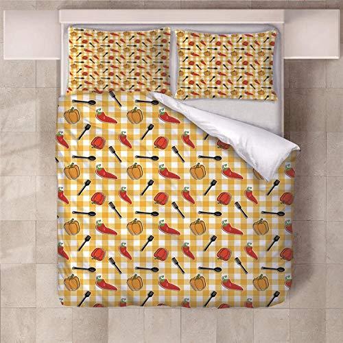 JCbedding 3 TLG. Bettbezug mit bettwäsche 200x200cm Drucken 2 Kissenbezügen 80 x 80 cm Chili Hochwertiger Stoff Falten- und Verblassungsbeständig Atmungsaktive Baumwoll