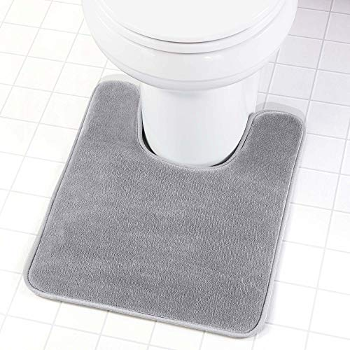 Genteele Memory Foam Toilet Bathroom Rugs U-Shaped Contour Toilet Mat, Non Slip, Machine Washable, Absorbent, Super Cozy Velvet Bathroom Toilet Carpet, Gray