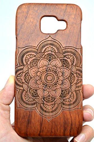 RoseFlower® Coque Samsung Galaxy A3 (2016) en Bois Véritable - Palissandre Mandala Fleur Coque de Protection - Fabriqué à la Main en Bois Protecteur Coque Housse Etui Cover Case